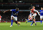 Arsenal's Alexis Sanchez sees his shot blocked by Leicester's Wes Morgan<br /> <br /> Barclays Premier League- Arsenal vs Leicester City  - Emirates Stadium - England - 10th February 2015 - Picture David Klein/Sportimage