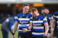 James Wilson and Will Hurrell of Bath Rugby after the match. Aviva Premiership match, between Bath Rugby and Sale Sharks on February 24, 2018 at the Recreation Ground in Bath, England. Photo by: Patrick Khachfe / Onside Images