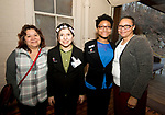 WATERTOWN, CT-042518JS22- Juana Sanchez and her daughter Lin-Yu Sanchez, 14, of Waterbury, with Jewel Greene, 14 and her mother Janell Harper, of Waterbury, at the Save Girls on F.Y.E.R. organization's fifth anniversary celebration held at Old Platform 6 in Watertown. <br /> Jim Shannon Republican American