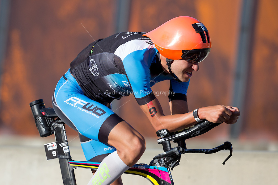 MELBOURNE, March 21, 2015 - Jens PETERSEN-BACH (DNK) #9 on the bike leg of the 2015 IRONMAN Asia-Pacific Championship in Melbourne, Australia on Sunday March 21, 2015. (Photo Sydney Low / sydlow.com)