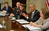 In this file photo from October 6, 2014, United States President Barack Obama (2nd,R) makes remarks as (L-R) Centers for Disease Control and Prevention (CDC) Director Tom Frieden, Chairman of the Joint Chiefs Gen. Martin Dempsey, US Secretary of Health and Human Services Sylvia Burwell, and Homeland Security official Lisa Monaco listen during a meeting with his national security team and senior staff for an update on the Ebola crisis in West Africa, at the White House, October 6, 2014, in Washington, DC.  Frieden was arrested in New York, New York on August 24, 2018 as the result of allegations of forcible touching, sex abuse and harassment of a woman in October 2017. <br /> Credit: Mike Theiler / Pool via CNP