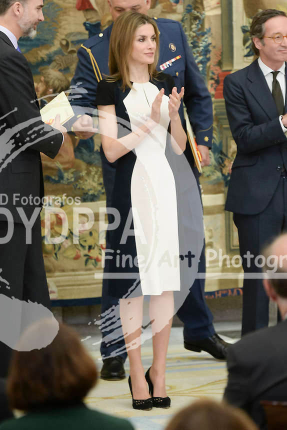 The Kings of Spain, Felipe and Letizia, attend the delivery of the National Culture awards at the Palace of El Pardo, Madrid, Spain. February 16, 2015. In the image: Queen Letizia.  (C) Ivan L. Naughty / DyD Fotografos
