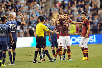 Sporting Park, Kansas City, Kansas, July 31 2013:<br /> MLS All Star players and AS Roma players confront each other.<br /> MLS All-Stars were defeated 3-1 by AS Roma at Sporting Park, Kansas City, KS in the 2013 AT & T All-Star game.
