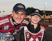 Lakeside Mascot with Lee Richardson - Lakeside Hammers vs Swindon Robins, Elite League Speedway at the Arena Essex Raceway, Purfleet - 03/09/10 - MANDATORY CREDIT: Rob Newell/TGSPHOTO - Self billing applies where appropriate - 0845 094 6026 - contact@tgsphoto.co.uk - NO UNPAID USE.