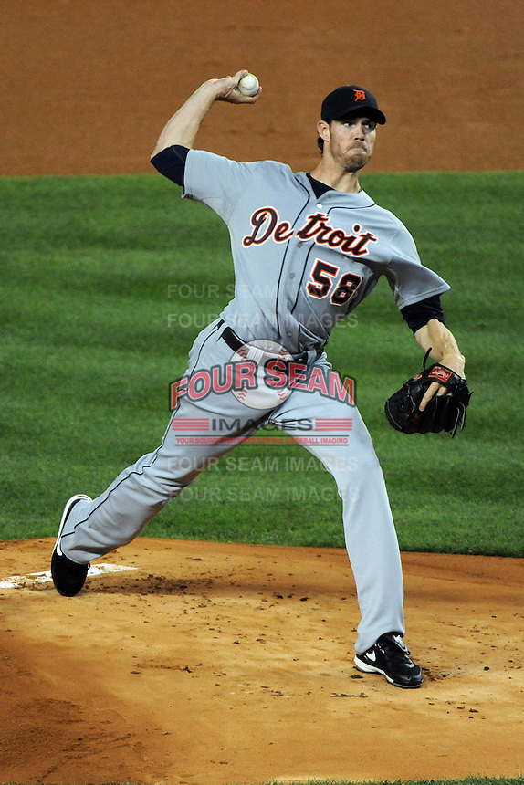 Detroit Tigers pitcher Doug Fister #58 during ALDS game #5 against the New York Yankees at Yankee Stadium on October 06, 2011 in Bronx, NY.  Detroit defeated New York 3-2 to take the series 3 games to 2 games.  Tomasso DeRosa/Four Seam Images