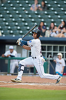 Northwest Arkansas Naturals outfielder Nick Heath (2) connects on a pitch on May 13, 2019, at Arvest Ballpark in Springdale, Arkansas. (Jason Ivester/Four Seam Images)