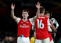 Kieran Tierney of Arsenal celebrates their victory at the final whistle during Arsenal vs Standard Liege, UEFA Europa League Football at the Emirates Stadium on 3rd October 2019
