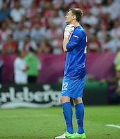 FUSSBALL  EUROPAMEISTERSCHAFT 2012   VORRUNDE Tschechien - Polen               16.06.2012 Torwart Przemyslaw Tyton (Polen) ist nach dem 1:0 enttaeuscht