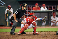 Memphis Redbirds catcher Carson Kelly (19) awaits the pitch during a game against the Round Rock Express on April 28, 2017 at AutoZone Park in Memphis, Tennessee.  Memphis defeated Round Rock 9-1.  (Mike Janes/Four Seam Images)