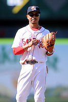Portland Sea Dogs second baseman Mookie Betts (7) during a game versus the Trenton Thunder at Hadlock Field in Portland, Maine on May 17, 2014. (Ken Babbitt/Four Seam Images)
