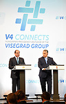 Egyptian President Abdel Fattah al-Sisi and Hungarian Prime Minister Viktor Orban give a joint press conference in Budapest on July 4, 2017 during a summit of the Visegrad group countries (V4) and Egypt. Photo by Egyptian President Office