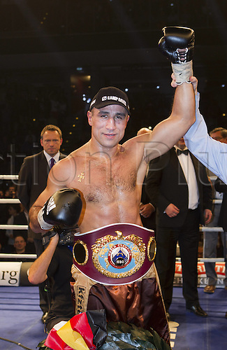 15.12.2012. Nuerenberg, Germany.  WBO Super Middleweight Title fight.  Mehdi Bouadla France vs Arthur Abraham. Winner Abraham with his title Belts.  Abraham successfully defended his WBO  title with a technical knockout over Bouadla