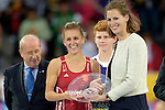 ENG - London, England, August 30: Alex DANSON #15 of England receives the award as Best Female Player of the Tournament during the prize giving ceremony on August 30, 2015 at Lee Valley Hockey and Tennis Centre, Queen Elizabeth Olympic Park in London, England.  (Photo by Dirk Markgraf / www.265-images.com) *** Local caption ***