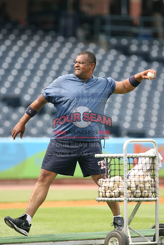 "June 12th 2008:  Coach Leon ""Bull"" Durham of the Indianapolis Indians, Class-AAA affiliate of the Pittsburgh Pirates, during a game at Fifth Third Field in Toledo, OH.  Photo by:  Mike Janes/Four Seam Images"