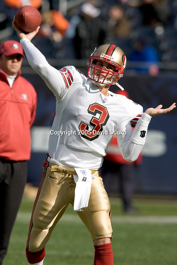 Quarterback Cody Pickett #3 of the San Francisco 49ers throws a pass during warmups prior to the Chicago Bears on November 13, 2005 at Soldier Field in Chicago, Illinois. The Bears defeated the 49ers 17-9. (Photo by David Stluka)