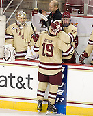 Brian Billett (BC - 1), John Hegarty (BC - Dir-Hockey Ops), Chris Kreider (BC - 19), Kevin Hayes (BC - 12) - The Boston College Eagles defeated the visiting University of New Hampshire Wildcats 4-3 on Friday, January 27, 2012, in the first game of a back-to-back home and home at Kelley Rink/Conte Forum in Chestnut Hill, Massachusetts.
