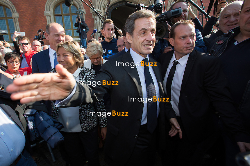 Nicolas Sarkozy rencontre Natacha Bouchart, la maire de Calais, lors d'une table ronde sur la situation migratoire &agrave; Calais, France, le 21 septembre 2016. <br /> Former French president Nicolas Sarkozy meets Calais mayor Natacha Bouchart in Calais, France, on September 21th, 2016.