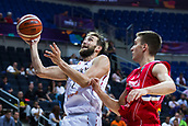 7th September 2017, Fenerbahce Arena, Istanbul, Turkey; FIBA Eurobasket Group D; Belgium versus Serbia; Power Forward Axel Hervelle #7 of Belgium in action under the basket against Shooting Guard Bogdan Bogdanovic #7 of Serbia during the match