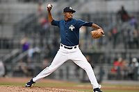 Pitcher Nicolas Debora (32) of the Columbia Fireflies delivers a pitch in a game against the Greenville Drive on Sunday, May 27, 2018, at Spirit Communications Park in Columbia, South Carolina. Greenville won, 3-0. (Tom Priddy/Four Seam Images)