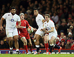 George Ford of England distributes the ball early - RBS 6Nations 2015 - Wales  vs England - Millennium Stadium - Cardiff - Wales - 6th February 2015 - Picture Simon Bellis/Sportimage