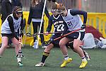 Santa Barbara, CA 02/19/11 - Ciara Looney (CSU Fullerton #16), Dani Willis (CSU Fullerton #21) and Kathryn Anderson (UC Santa Cruz #22) in action during the CSU Fullerton-UC Santa Cruz game at the 2011 Santa Barbara Shootout.