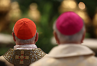 Cardinali e vescovi durante la Messa del Crisma in occasione del Giovedi' Santo celebrata da Papa Francesco nella Basilica di San Pietro, Citta' del Vaticano, 18 aprile 2019.<br /> Cardinals and bishops attend the Chrism Mass for Holy Thursday in Saint Peter's Basilica at the Vatican, on April 18, 2019.<br /> UPDATE IMAGES PRESS/Isabella Bonotto<br /> <br /> STRICTLY ONLY FOR EDITORIAL USE