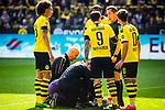 11.05.2019, Signal Iduna Park, Dortmund, GER, 1.FBL, Borussia Dortmund vs Fortuna Düsseldorf, DFL REGULATIONS PROHIBIT ANY USE OF PHOTOGRAPHS AS IMAGE SEQUENCES AND/OR QUASI-VIDEO<br /> <br /> im Bild | picture shows:<br /> Marwin Hitz (Borussia Dortmund #35) liegt nach einem Zusammenprall mit Dodi Lukebakio (Fortuna #20)  benommen um Strafraum und muss lange behandelt werden, <br /> <br /> Foto © nordphoto / Rauch