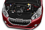 Car Stock 2014 Peugeot 208 GTI 3 Door Hatchback 2WD Engine high angle detail view