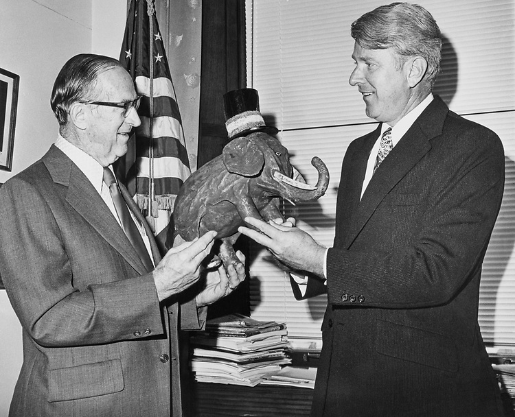 Elephant made by R.N. Schneider of New York is given by Rep. George Atlee Goodling, R-Ohio, to Max Friedersdorf, Special Assistant to the President. (Photo by CQ Roll Call)
