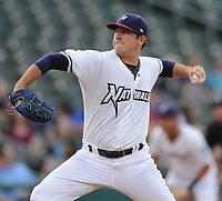 NWA Democrat-Gazette/ANDY SHUPE<br /> Northwest Arkansas Naturals starter Jake Kalish delivers to the plate against the Midland Rockhounds Wednesday, Aug 9, 2017, during the second inning at Arvest Ballpark in Springdale. Visit nwadg.com/photos to see more photographs from the game