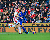 4th November 2017, bet365 Stadium, Stoke-on-Trent, England; EPL Premier League football, Stoke City versus Leicester City; Jamie Vardy of Leicester City runs down the wing watched by Ryan Shawcross of Stoke City