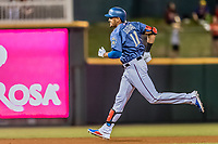 Frisco RoughRiders Ronald Guzman (11) rounds the bases after hitting a home run during a Texas League game against the Springfield Cardinals on May 4, 2019 at Dr Pepper Ballpark in Frisco, Texas.  (Mike Augustin/Four Seam Images)