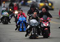 Nov. 12, 2011; Pomona, CA, USA; NHRA pro stock motorcycle rider Matt Smith during qualifying at the Auto Club Finals at Auto Club Raceway at Pomona. Mandatory Credit: Mark J. Rebilas-.