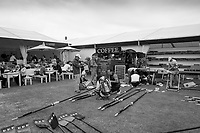 Henley-on-Thames. United Kingdom. Mitsubishi Boat Club, appling new vinyl decals to their blades as they prepare to compete in the 2017 Henley Royal Regatta, Henley Reach, River Thames. <br /> <br /> 10:59:18  Tuesday  27/06/2017   <br /> <br /> [Mandatory Credit. Peter SPURRIER/Intersport Images.