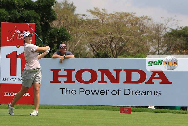 Caroline Masson (GER) on the 11th tee during Round 1 of the Honda LPGA Thailand on Thursday 23rd February 2017.<br /> Picture:  Thos Caffrey / Golffile