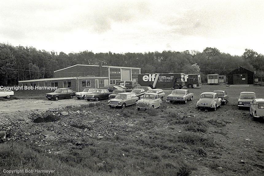 OCKHAM, SURREY - MAY, 1976: An exterior view of the Formula 1 team headquarters for the Tyrrell Racing Organization in Ockham, Surrey, United Kingdom.