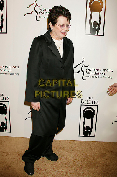 "BILLIE JEAN KING.Women's Sports Foundation Presents ""The Billies"" Gala held at the Beverly Hilton, Beverly Hills, California, USA..April 11th, 2007 .full length black coat.CAP/ADM/RE.©Russ Elliot/AdMedia/Capital Pictures"