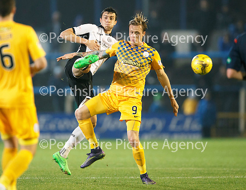 Greenock Morton v St Johnstone...27.10.15  League Cup Quarter Final, Cappielow...<br /> Joe Shaughnessy and Denny Johnstone<br /> Picture by Graeme Hart.<br /> Copyright Perthshire Picture Agency<br /> Tel: 01738 623350  Mobile: 07990 594431