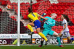 Doncaster Rovers Belles 1 Chelsea Ladies 4, 20/03/2016. Keepmoat Stadium, Womens FA Cup. Samantha Tierney of Doncaster Rovers Belles shoots wide under pressure from Chelsea goalkeeper Hedvig Lindahl. Photo by Paul Thompson.