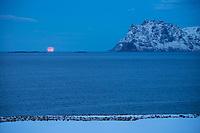 Winter moon setting over sea, Lofoten Islands, Norway