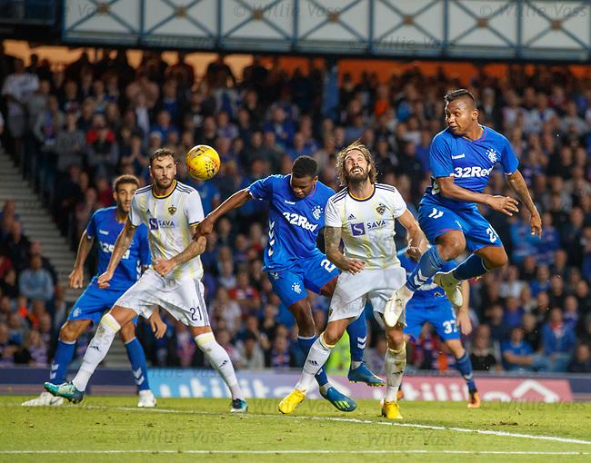 09.08.18 Rangers v Maribor: Lassana Coulibaly scores goal no 3