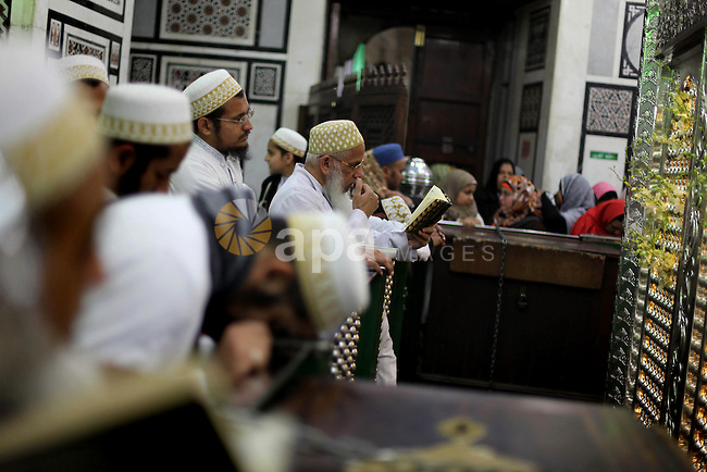 Egyptian Muslims pray at a tomb in al-Hussein mosque, which according to the belief head of Imam Hussein, the grandson of prophet Mohammed, is buried, in the old city of Cairo on Jan. 1, 2013. Photo by Ashraf Amra