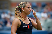 Dominika Cibulkova of Slovak reacts after losing a point against Ana Ivanovic of Serbian during their match at the Arthur Ashe stadium during the US Open 2015 Tennis Tournament in New York. 08.31.2015.  Eduardo MunozAlvarez/VIEWpress.