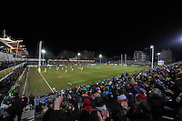 A general view of the Recreation Ground pitch during the match. Aviva Premiership match, between Bath Rugby and Sale Sharks on March 6, 2015 at the Recreation Ground in Bath, England. Photo by: Patrick Khachfe / Onside Images