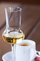 Glass of tsipouro. Cup of coffee. Wine Art Estate Winery, Microchori, Drama, Macedonia, Greece