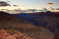 The view west from Horseshoe Mesa, Grand Canyon National Park during sunset.