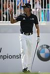 6 September 2008:  Camilo Villegas waves to the crowd before he tees off at the first hole in the second round of play at the BMW Golf Championship at Bellerive Country Club in Town & Country, Missouri, a suburb of St. Louis, Missouri.  The BMW Championship is the third event on the PGA's Fed Ex Tour. Villegas, of Medellin Colombia (South America) was the leader after the conclusion of round one with a five-under par score.