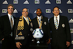 14 January 2010: Danny Mwanga (center) was selected with the #1 overall pick by the Philadelphia Union. From left: Jay Sugarman, Tom Veit, Danny Mwanga, Nick Sakiewicz. The 2010 MLS SuperDraft was held in the Ballroom at Pennsylvania Convention Center in Philadelphia, PA during the NSCAA Annual Convention.