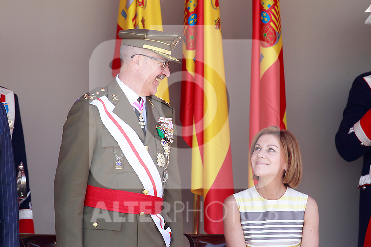 Lieutenant General Fernando Alejandre, JEMAD, Chief of Staff for Defense and María Dolores de Cospedal Minister of Defense of Spain attend the Armed Forces Day. May 27 ,2017. (ALTERPHOTOS/Acero)