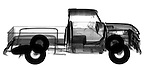 X-ray image of an old pick-up truck (black on white) by Jim Wehtje, specialist in x-ray art and design images.